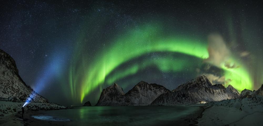 A piece of fine art art photography titled Lofoten Lights by Dr. Nicholas Roemmelt