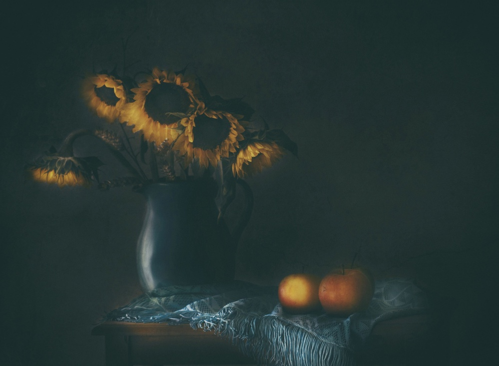A piece of fine art art photography titled Remember the Sunflowers by Delphine Devos