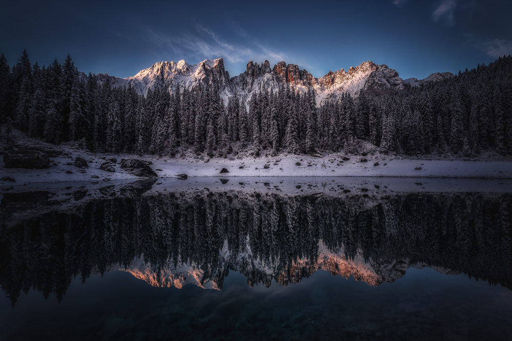 A piece of fine art art photography titled The Dark Lake by Clara Gamito