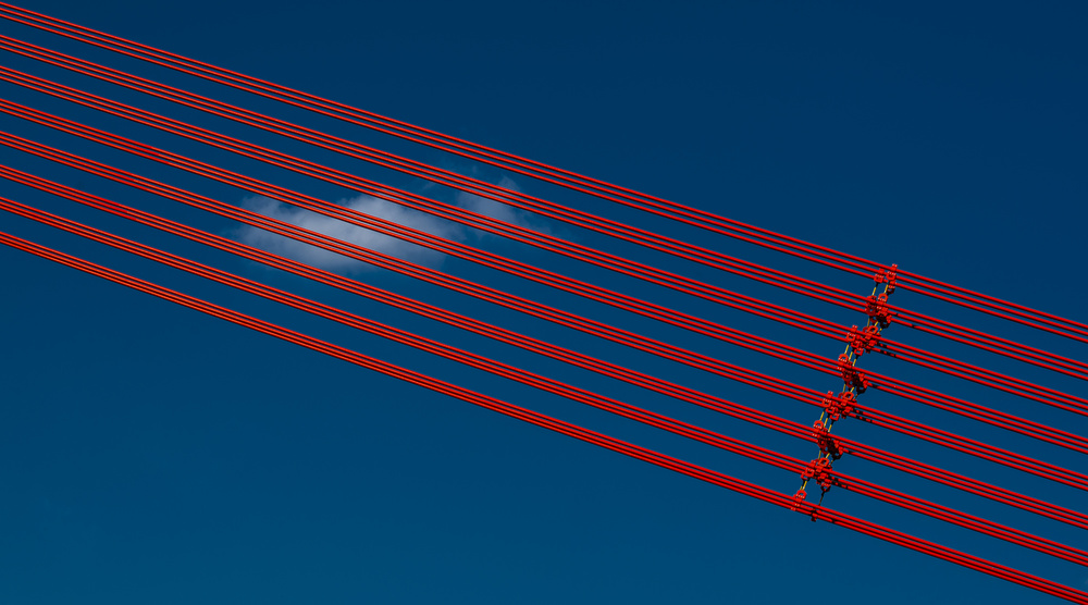 A piece of fine art art photography titled Red Diagonal Lines by minimalist