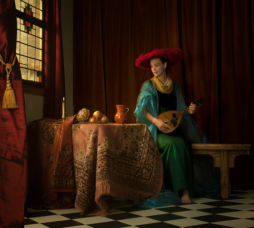 A piece of fine art art photography titled Lady With the Red Hat by Peter Kemp