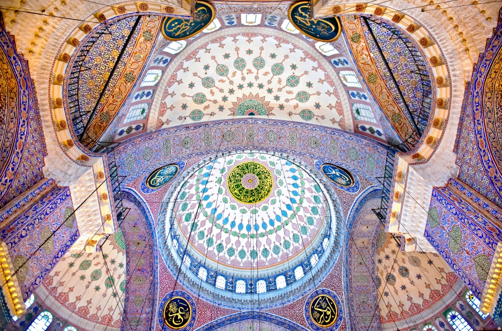 The Blue Mosque – The Sultan Ahmed Mosque. Columns and Main Domes. Istanbul. Turkey © Nora de Ang