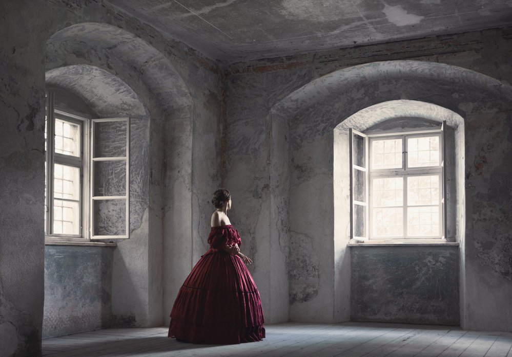 A piece of fine art art photography titled Red Gown by Magdalena Russocka