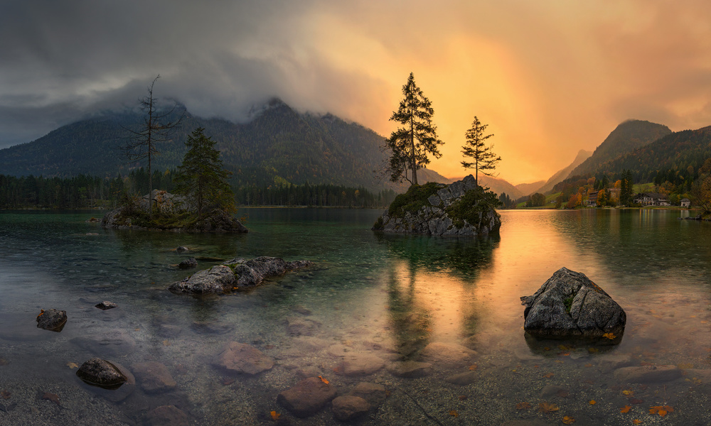 A piece of fine art art photography titled Rainy Day at Hintersee by Pawel Kucharski