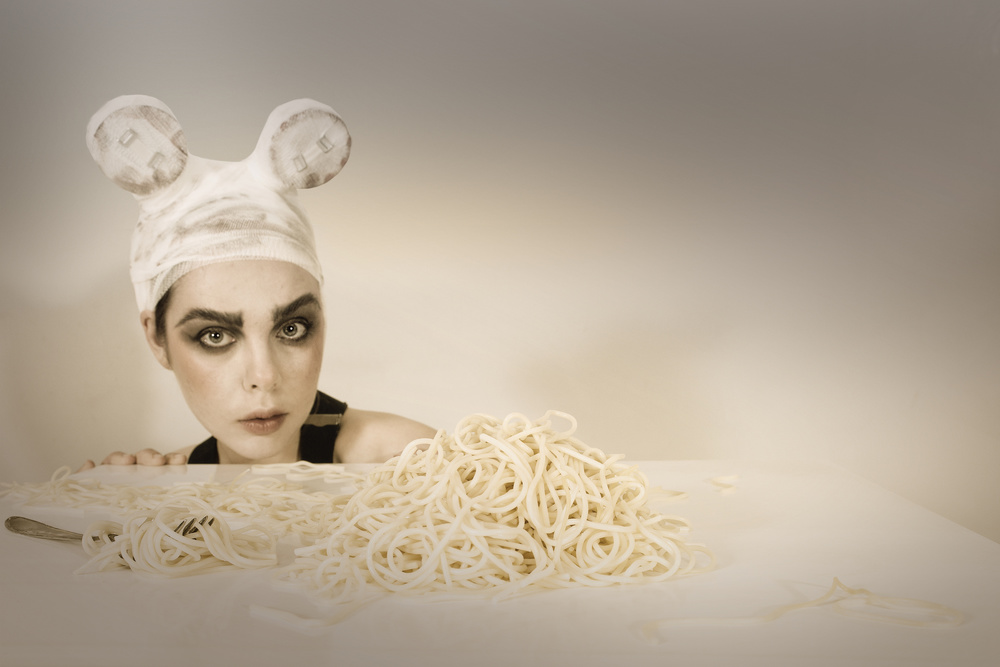 View this piece of fine art photography titled The mouse who loves spaghetti by Hans Pollner