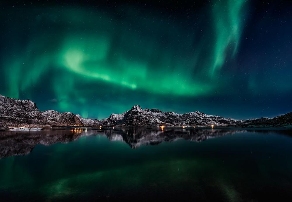 A piece of fine art art photography titled Lofoten Aurora Reflection by Javier de la Torre