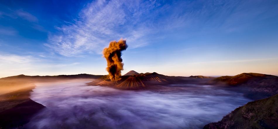 A piece of fine art art photography titled Eruption Through the Fog by Dan Ballard Photography