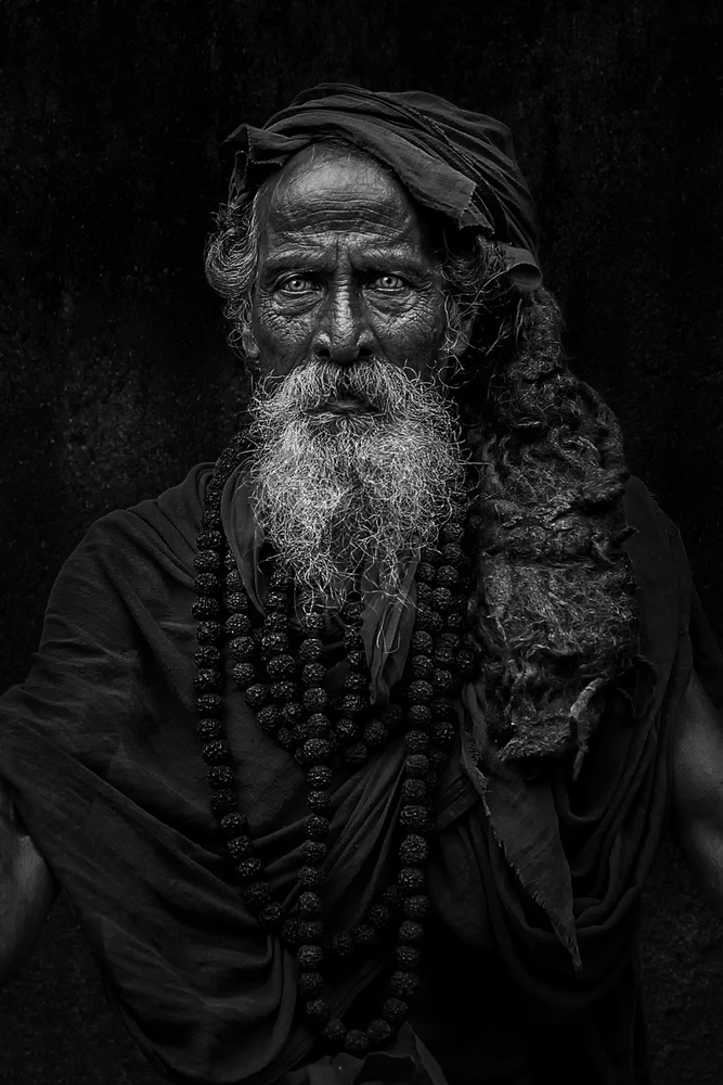 A piece of fine art art photography titled Saddhu Look by Fadhel Almutaghawi