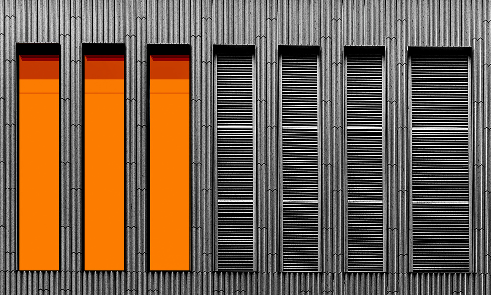 A piece of fine art art photography titled Windows With Blinds by Inge Schuster