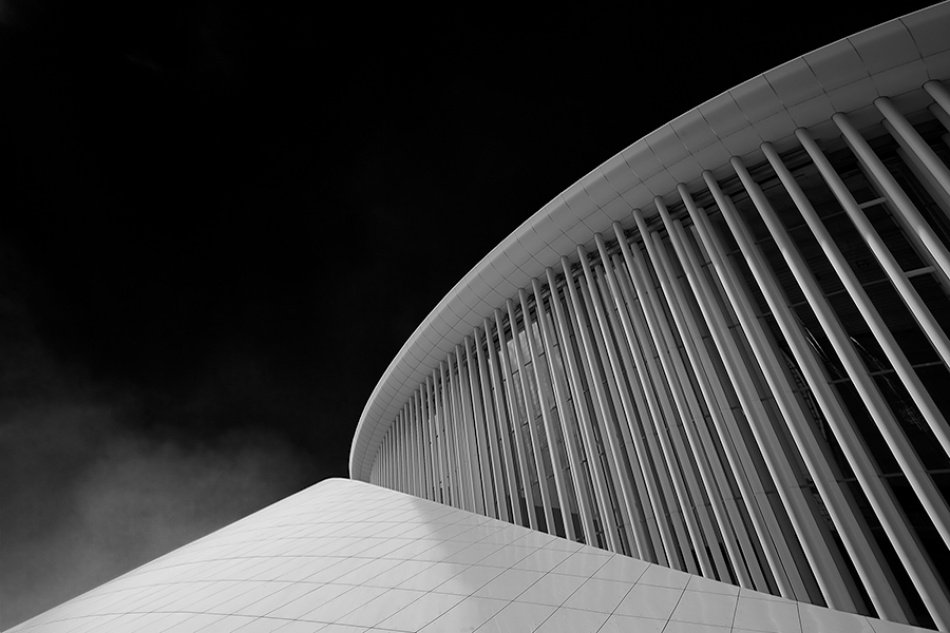 A piece of fine art art photography titled Curves and Pillars by Repro