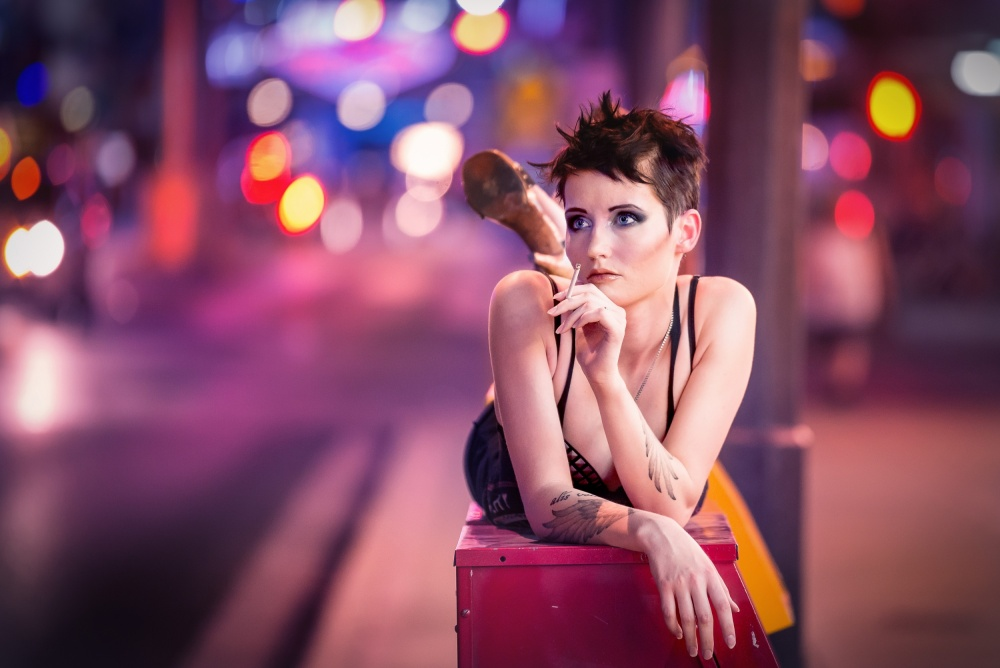 A piece of fine art art photography titled City Girl by EdiV Photography