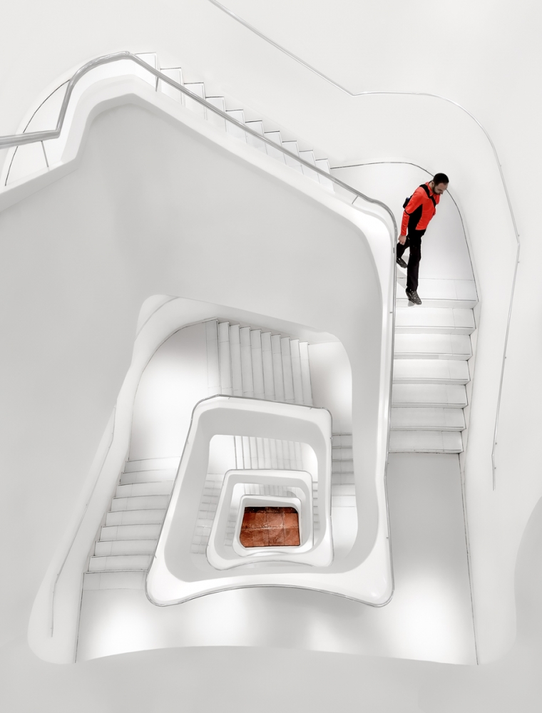 A piece of fine art art photography titled White Stairs by Jesús M. García