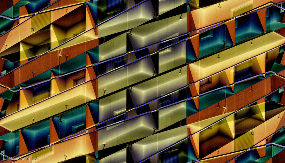 View this piece of fine art photography titled balconies in abstract by Jois Domont ( J.L.G.)