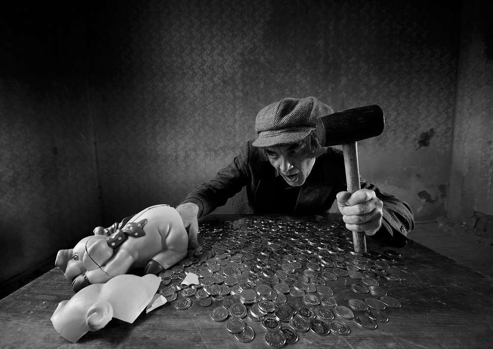 A piece of fine art art photography titled Take the Money and Run by mario grobenski - psychodaddy