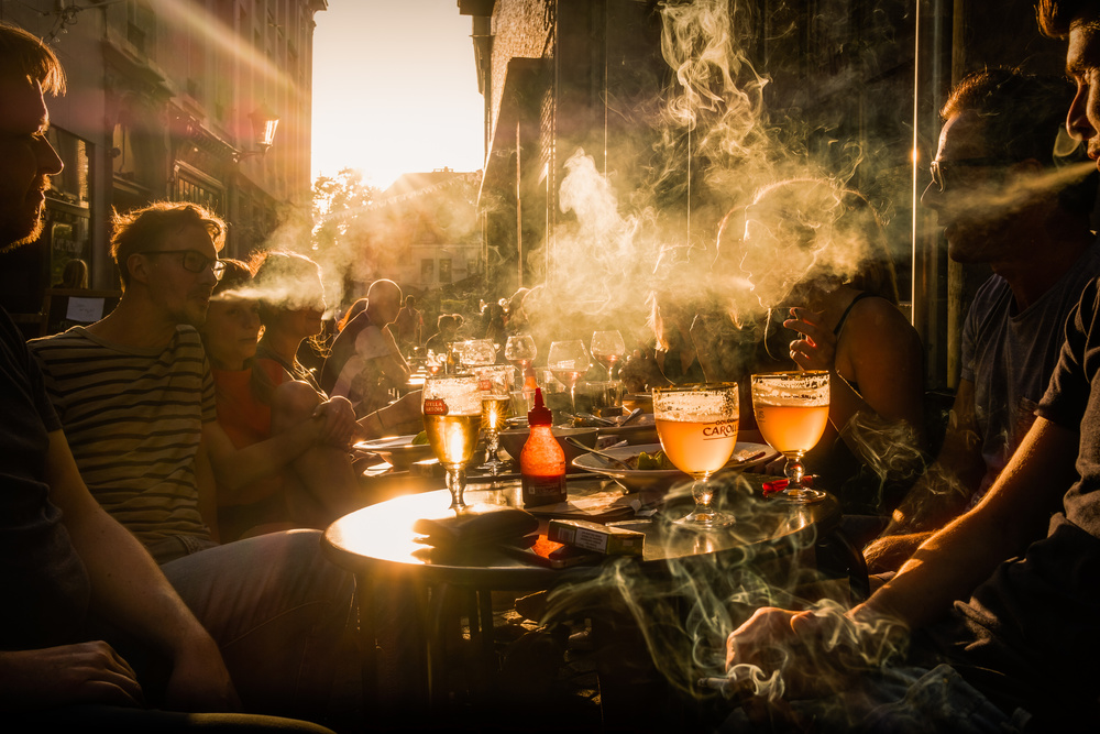 A piece of fine art art photography titled Belgian Sunset, Beer and Cigarettes by Adrian Popan