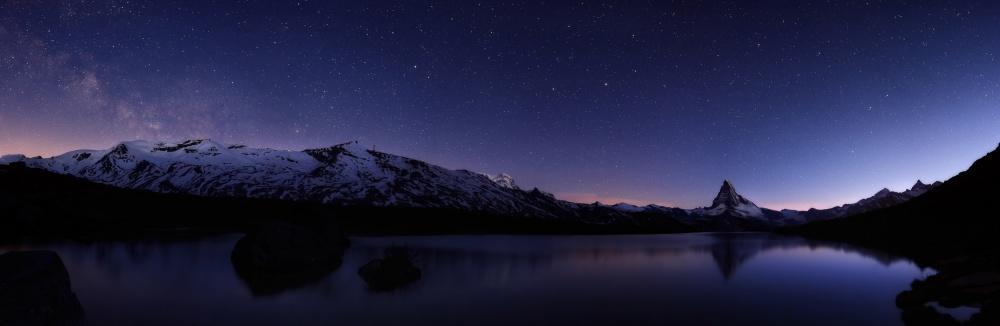 A piece of fine art art photography titled Stars at Matterhorn by Simon Roppel
