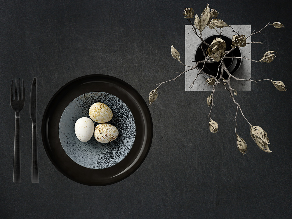 View this piece of fine art photography titled puristic egg menu by Udo Dittmann
