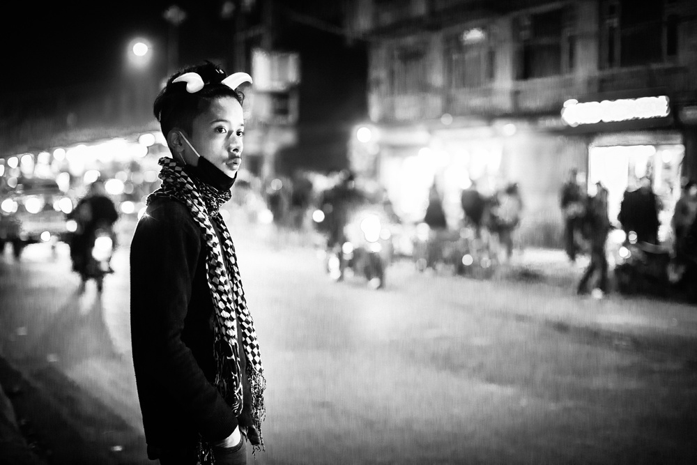 A piece of fine art art photography titled Night Street In Nepal by TORU MATSUNAGA