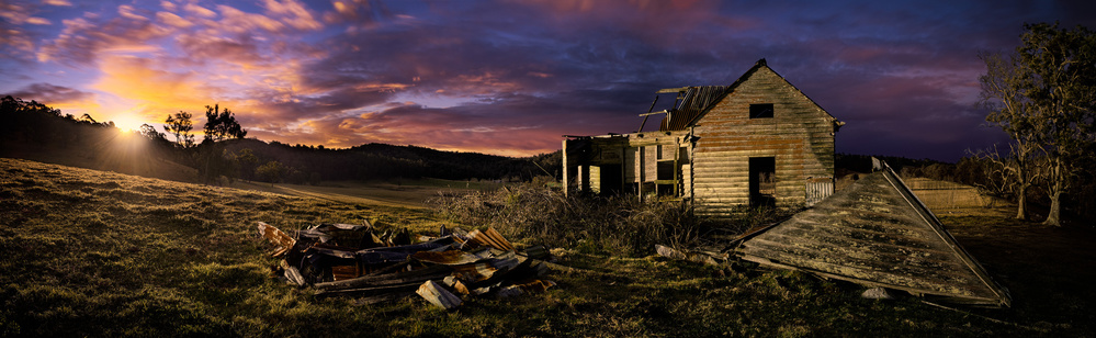 A piece of fine art art photography titled The Glory of Decay - Farm Shack Bodalla by Francis Keogh