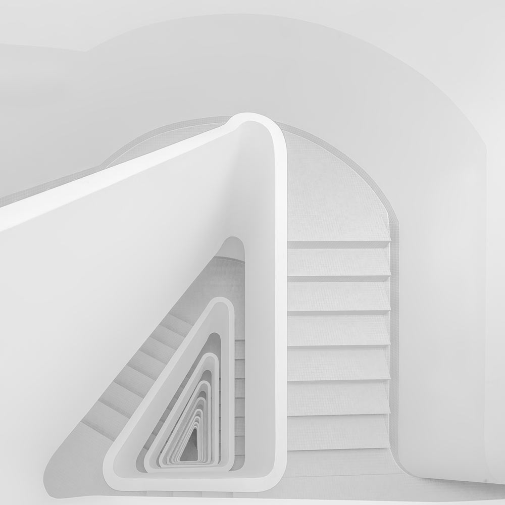 A piece of fine art art photography titled White Stairs by Markus Studtmann