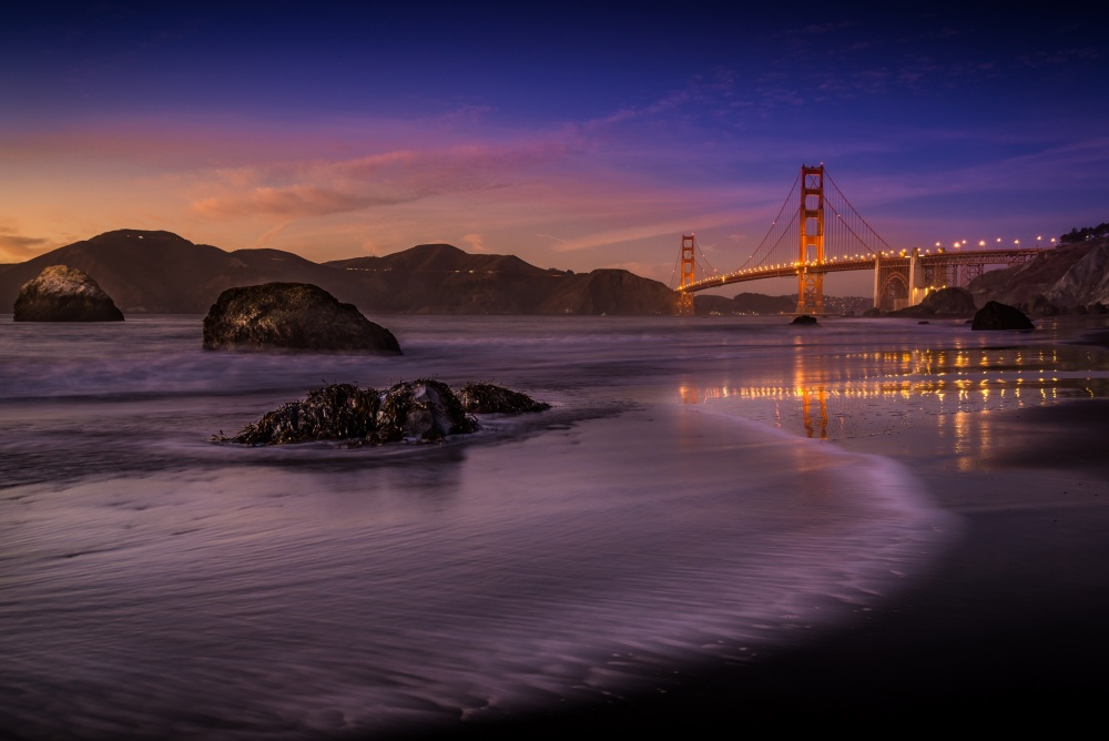A piece of fine art art photography titled Golden Gate Bridge Fading Daylight by Mike Leske