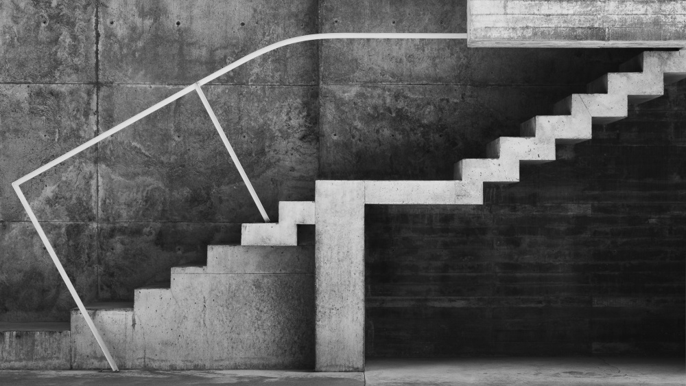 A piece of fine art art photography titled Dramatic Stairs by Jose Gadea
