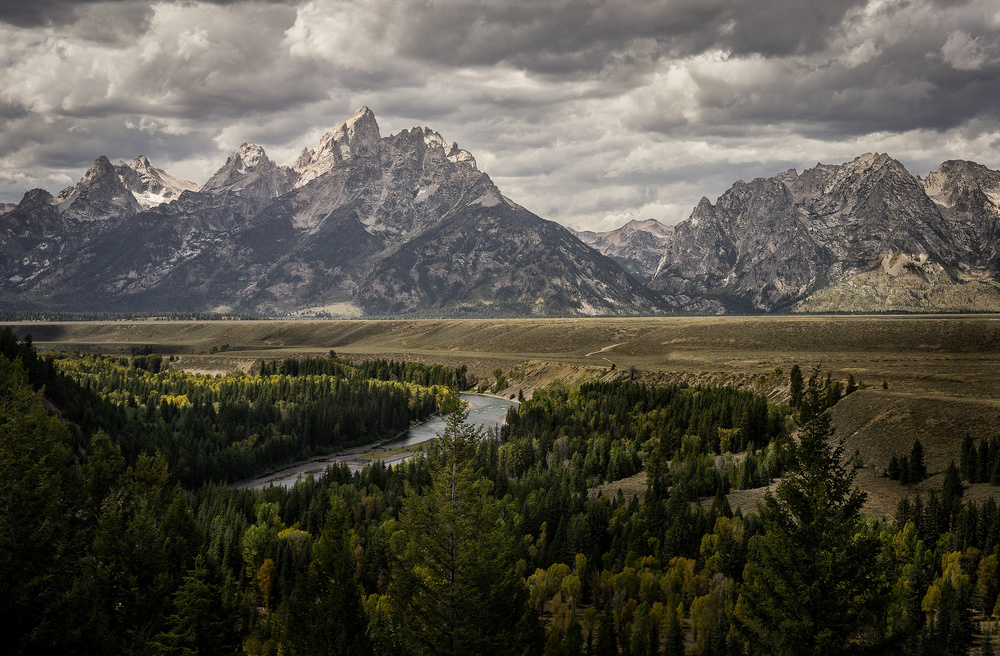 A piece of fine art art photography titled Tetons and the Snake River by Michael Delman