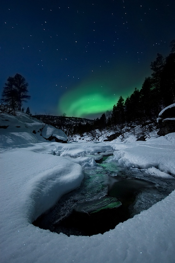 A piece of fine art art photography titled Night by the River by Arild Heitmann