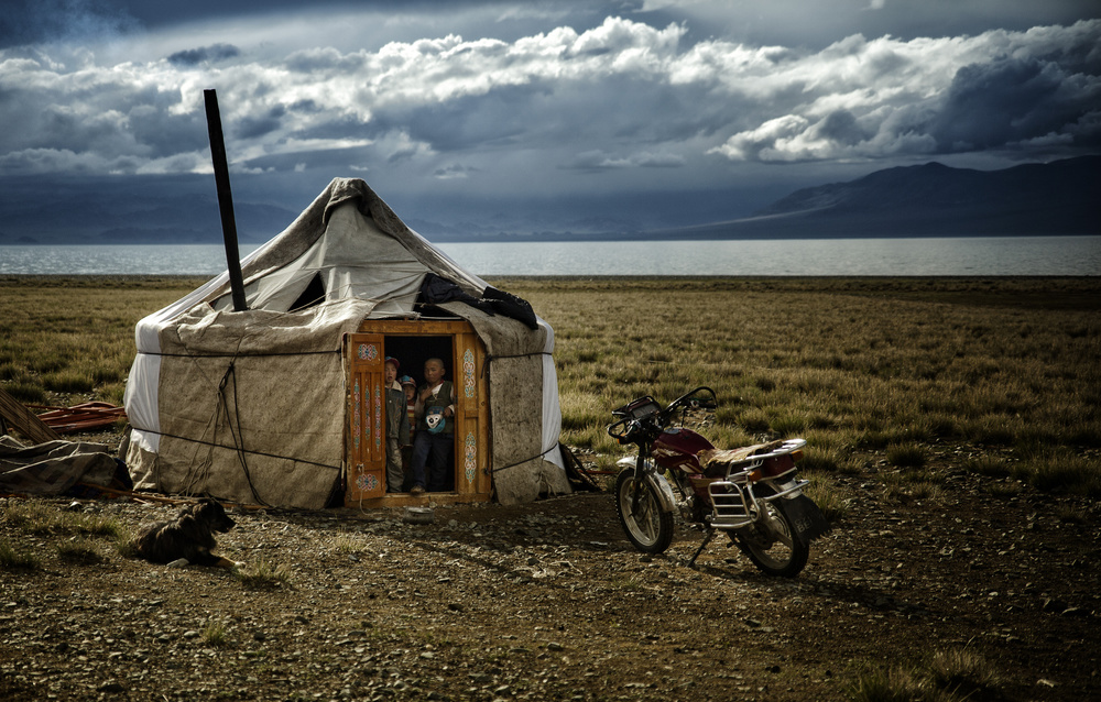 A piece of fine art art photography titled Alone In Mongolian Steppe by Alain Mazalrey