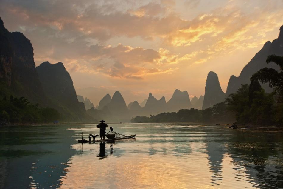 A piece of fine art art photography titled Golden Li River by Yan Zhang