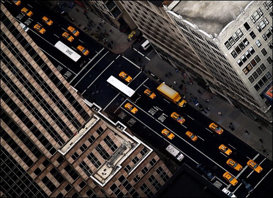 A piece of fine art art photography titled Yellow Traffic Jam by sensorfleck