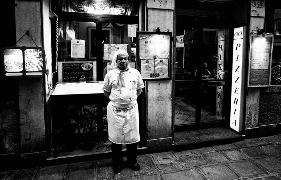 A piece of fine art art photography titled Making Pizza In Venice by Marko Mladovan