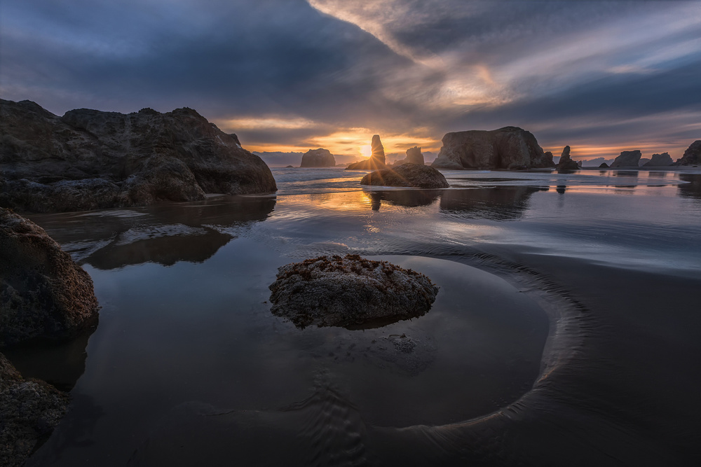 A piece of fine art art photography titled Bandon Sunset by Donald Luo