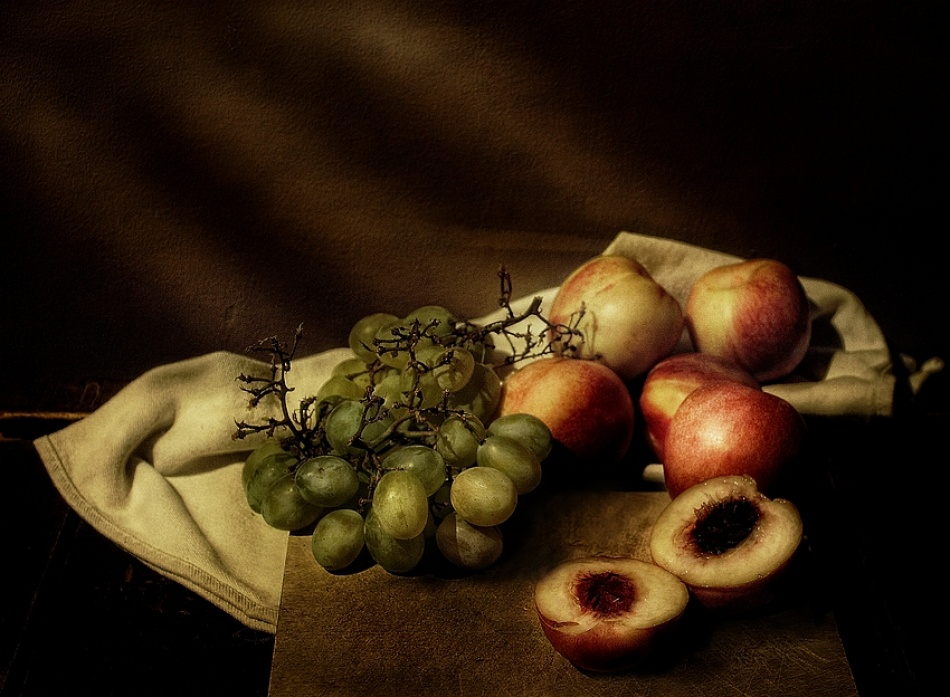A piece of fine art art photography titled Grapes & Nectarines by aleci
