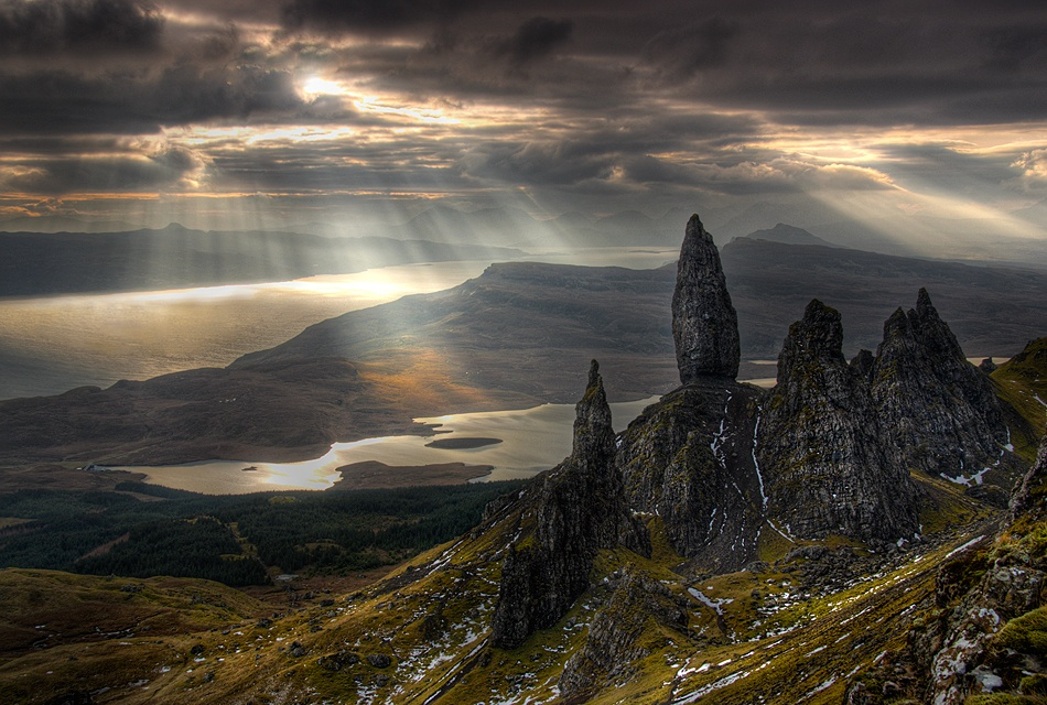A piece of fine art art photography titled Rays of Storr by Gary Howells