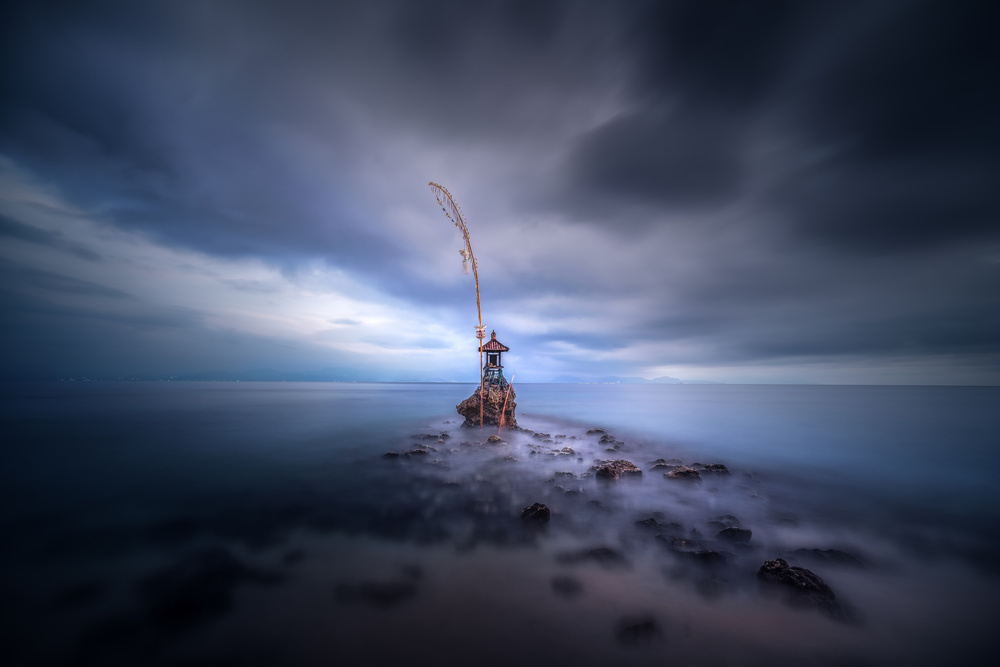 A piece of fine art art photography titled Stormy Temple by Clara Gamito