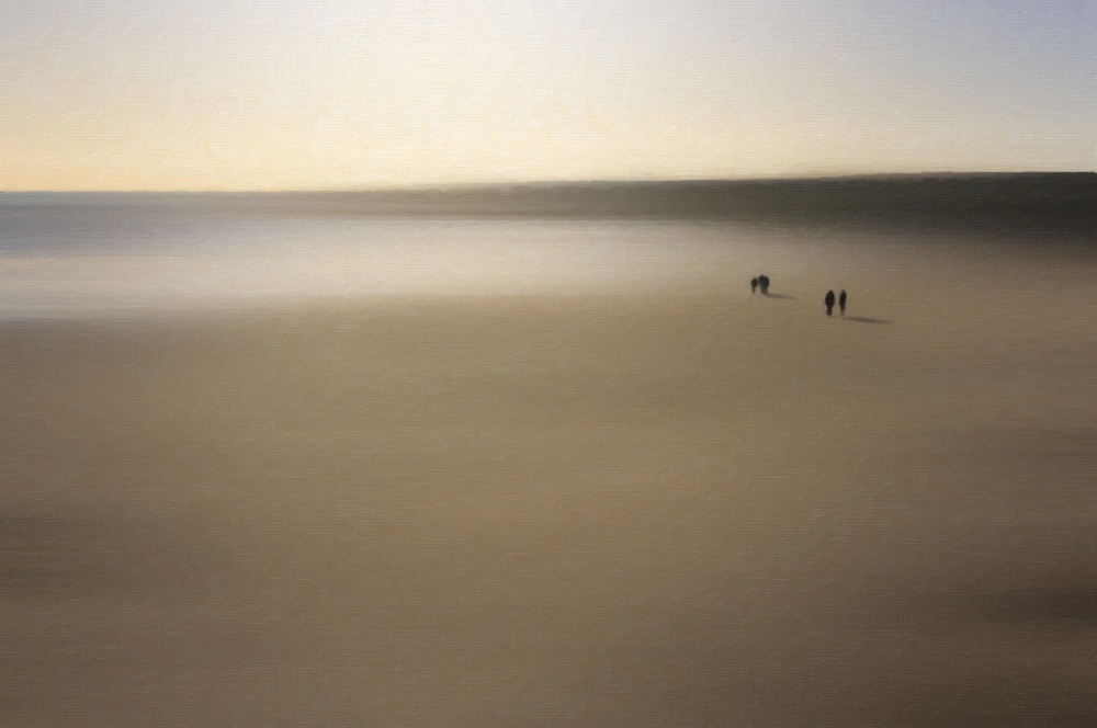 A piece of fine art art photography titled Figures On an Oiled Beach by Dave Quince