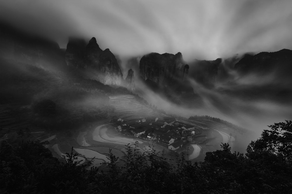 A piece of fine art art photography titled Ancient Village by Feng Zhou