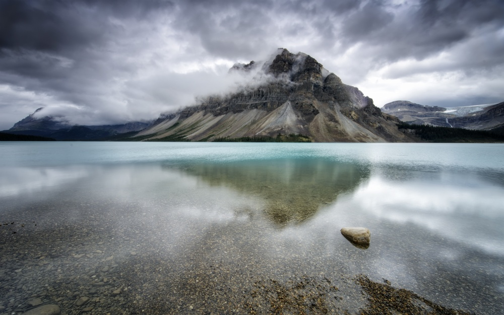 A piece of fine art art photography titled Bow Lake by Andrea Auf dem Brinke