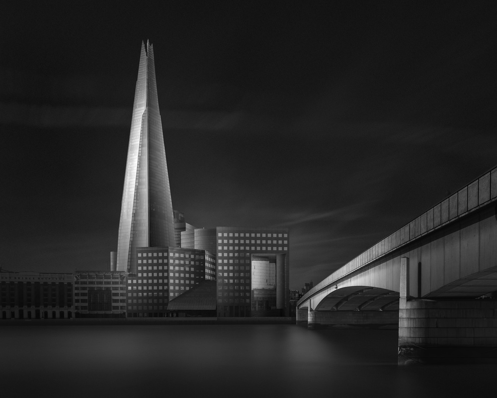 A piece of fine art art photography titled Lucid Dream II - the Shard & London Bridge by Oscar Lopez