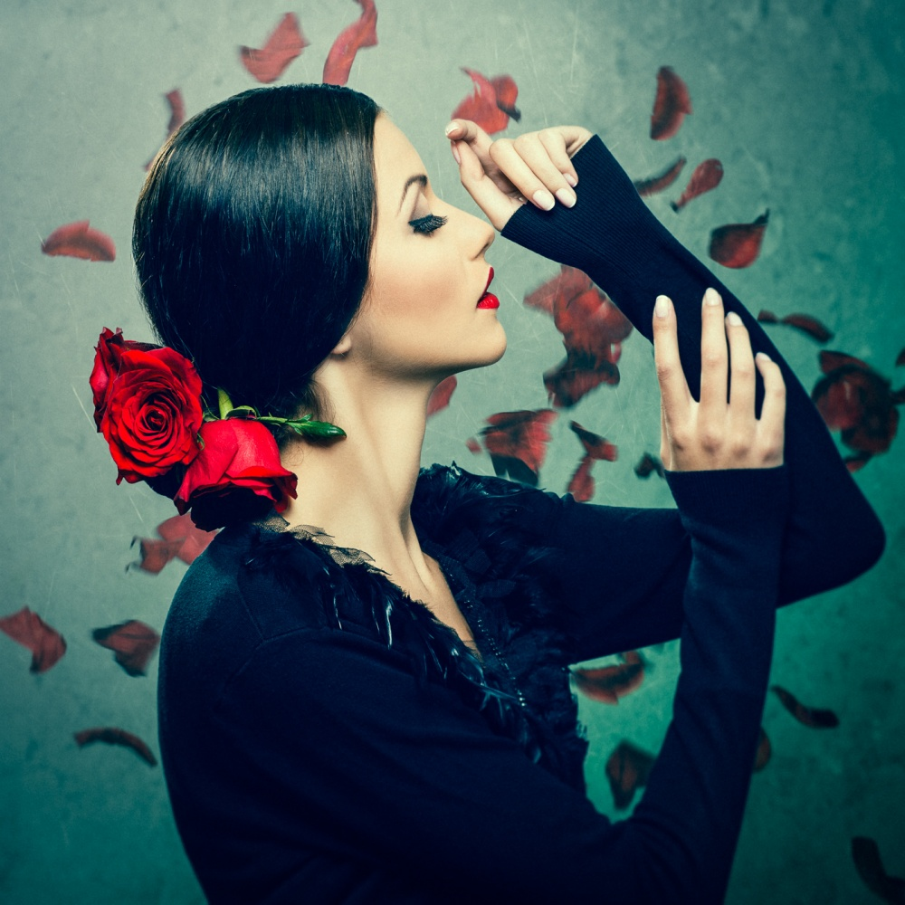 A piece of fine art art photography titled Gabi With Roses by Ivan Tonov