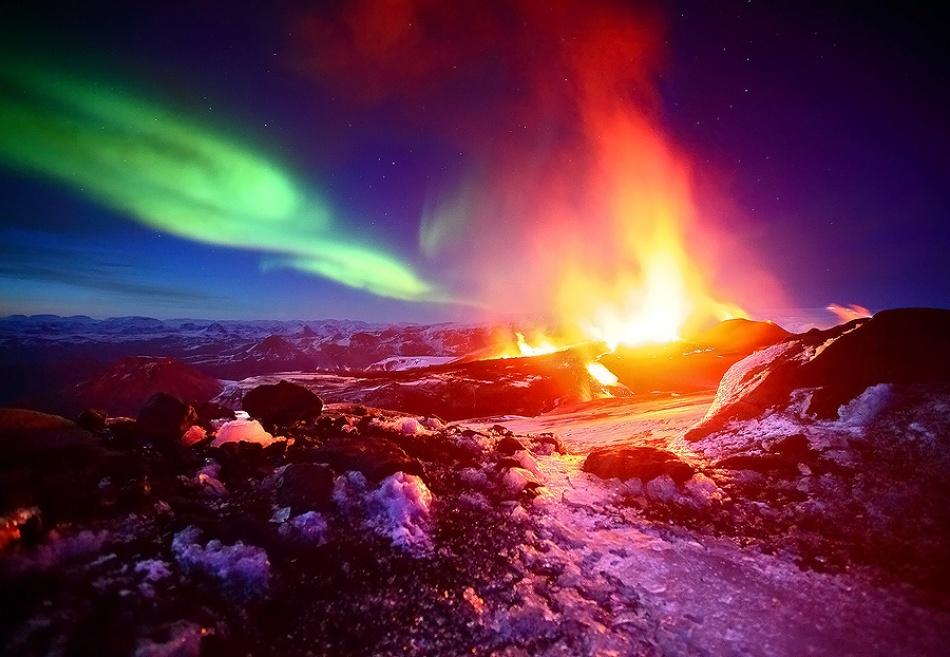 A piece of fine art art photography titled Fimmvörðuháls Eruption 2010 by James Appleton
