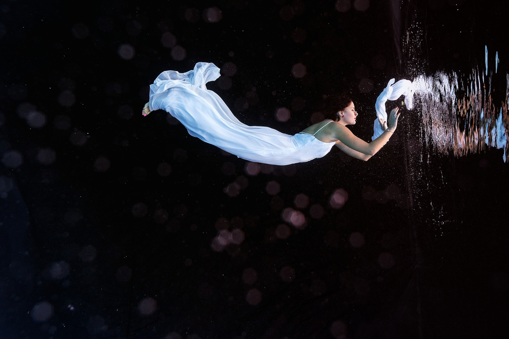View this piece of fine art photography titled Underwater Bride by Serge Melesan