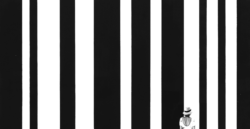 Woman and barcode