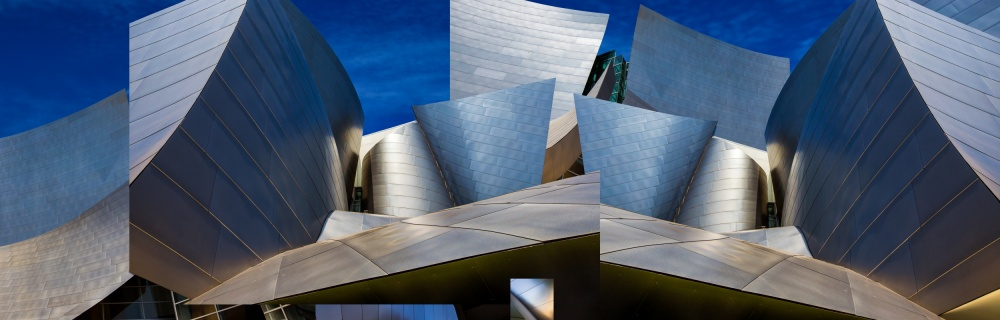 A piece of fine art art photography titled Disney Concert Hall-Montage (Color Version) by Ron Jones