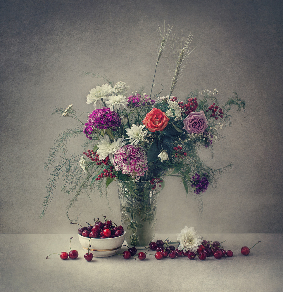 A piece of fine art art photography titled Flowers and Cherries by Dimitar Lazarov - Dim