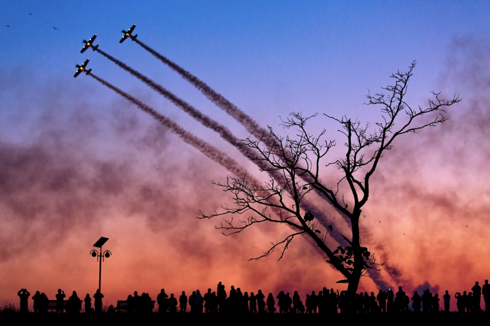 A piece of fine art art photography titled Airshow In Bucharest, Romania by Dan Mirica