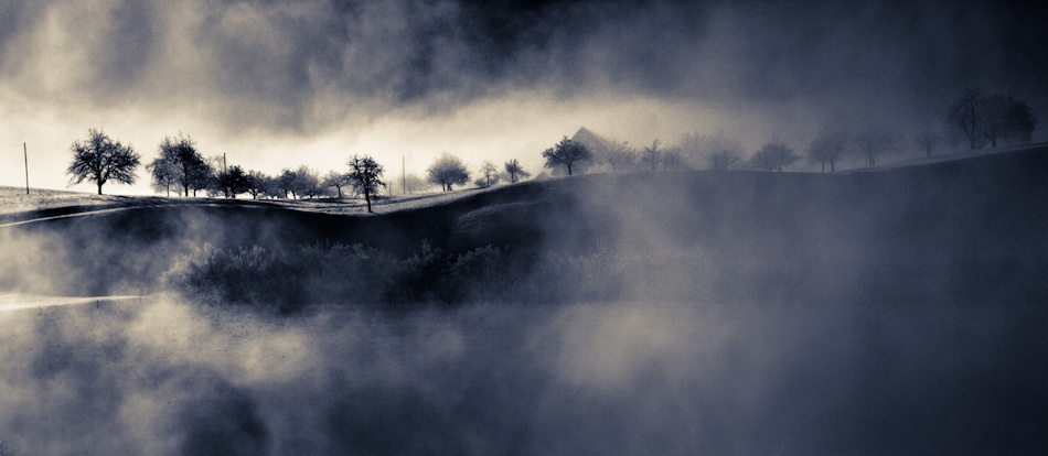 A piece of fine art art photography titled Shadows and Silhouettes Through the Mist by Colmar Wocke