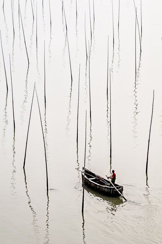 A piece of fine art art photography titled Fishing by Usha Peddamatham