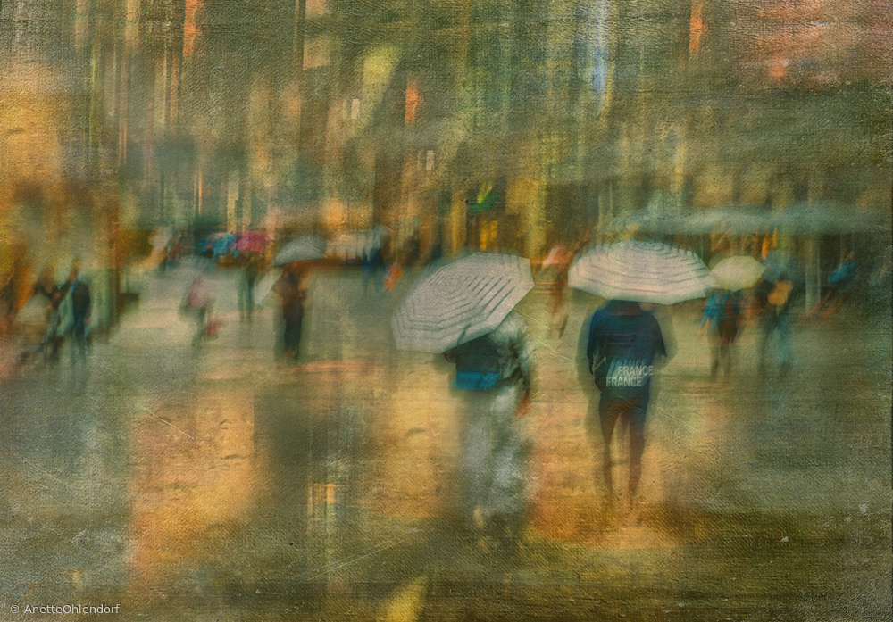 View this piece of fine art photography titled  two blue and white umbrellas by Anette Ohlendorf